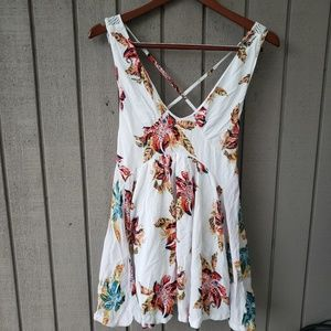 Free people tank top floral print strappy back XS